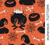 vector seamless halloween... | Shutterstock .eps vector #712772344