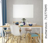 mock up poster in interior with ... | Shutterstock . vector #712775095