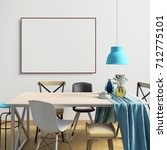 mock up poster in interior with ... | Shutterstock . vector #712775101