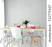 mock up wall in interior with... | Shutterstock . vector #712775107