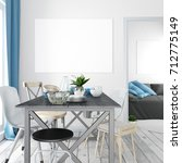 mock up poster in interior with ... | Shutterstock . vector #712775149