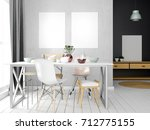 mock up poster in interior with ... | Shutterstock . vector #712775155