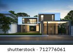 3d rendering of tropical house... | Shutterstock . vector #712776061
