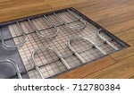 underfloor heating system under ... | Shutterstock . vector #712780384