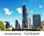 willis tower in chicago on the... | Shutterstock . vector #712782649