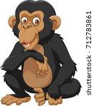 cartoon chimpanzee isolated on... | Shutterstock .eps vector #712783861