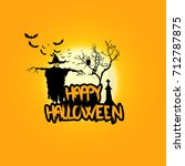 creepy halloween background... | Shutterstock .eps vector #712787875