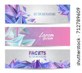 vector crystal faceted banners. ... | Shutterstock .eps vector #712789609