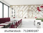 loft cafe interior with a... | Shutterstock . vector #712800187