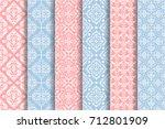set of 6 vector seamless... | Shutterstock .eps vector #712801909