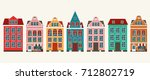 set of european colorful old... | Shutterstock .eps vector #712802719