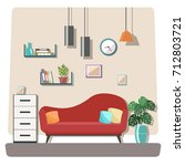 living room interior with... | Shutterstock .eps vector #712803721
