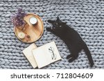 Stock photo black cat relaxing on knitted woolen chunky blanket book and wooden tray with home decor on the 712804609