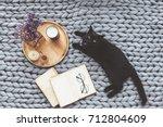 black cat relaxing on knitted... | Shutterstock . vector #712804609