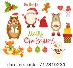 set of christmas christmas... | Shutterstock .eps vector #712810231