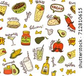 seamless vector pattern with... | Shutterstock .eps vector #712810615