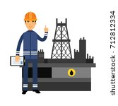 oilman character in a blue... | Shutterstock .eps vector #712812334