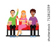happy friends sitting in the... | Shutterstock .eps vector #712812559