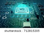 shiny emblem with microchip ... | Shutterstock . vector #712815205