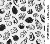 pattern with vector exotic... | Shutterstock .eps vector #712822531