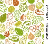 pattern with vector exotic... | Shutterstock .eps vector #712822615