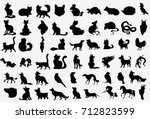 Stock vector big vector collection of animals silhouettes 712823599