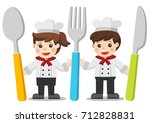chef kids menu. children with...   Shutterstock .eps vector #712828831