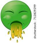 green vomiting emoji vector icon | Shutterstock .eps vector #712829299