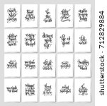 set of 20 black and white hand... | Shutterstock .eps vector #712829884