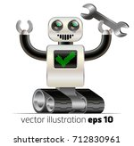 character cheerful robot on the ... | Shutterstock .eps vector #712830961