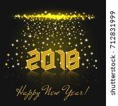 happy new year 2018 yellow... | Shutterstock .eps vector #712831999