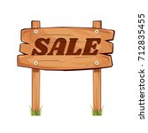 wooden sign board. sale... | Shutterstock .eps vector #712835455