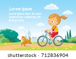 illustration with girl riding a ... | Shutterstock .eps vector #712836904