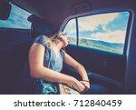 young beautiful brunette woman... | Shutterstock . vector #712840459