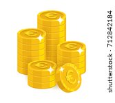 stack gold euro isolated... | Shutterstock .eps vector #712842184