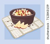 red apple raisins oatmeal... | Shutterstock .eps vector #712843159