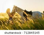 beauty brunette woman with... | Shutterstock . vector #712845145