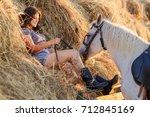 beauty brunette woman with... | Shutterstock . vector #712845169