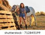 beauty brunette woman with... | Shutterstock . vector #712845199
