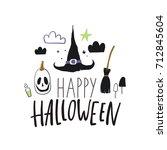 happy halloween print | Shutterstock .eps vector #712845604