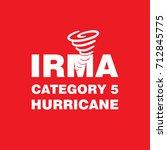 irma category 5 hurricane red... | Shutterstock .eps vector #712845775
