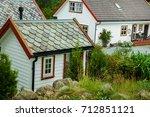 traditional norwegian wooden... | Shutterstock . vector #712851121