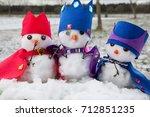 Three Cute King Snowmen Dresse...