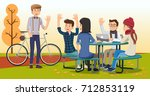 meeting in the spring autumn.... | Shutterstock .eps vector #712853119