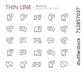 collection of message thin line ... | Shutterstock .eps vector #712857037