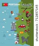 portugal travel tourism poster... | Shutterstock .eps vector #712857145