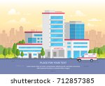 city hospital with place for... | Shutterstock .eps vector #712857385
