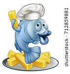 a chef fish and chips cartoon... | Shutterstock .eps vector #712859881