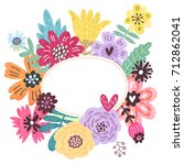 floral background for text.... | Shutterstock . vector #712862041
