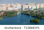 above view of cottage village... | Shutterstock . vector #712868191